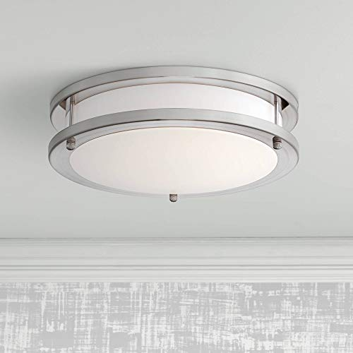 Leeds Satin Nickel 12 Wide LED Ceiling Light – Possini Euro Design