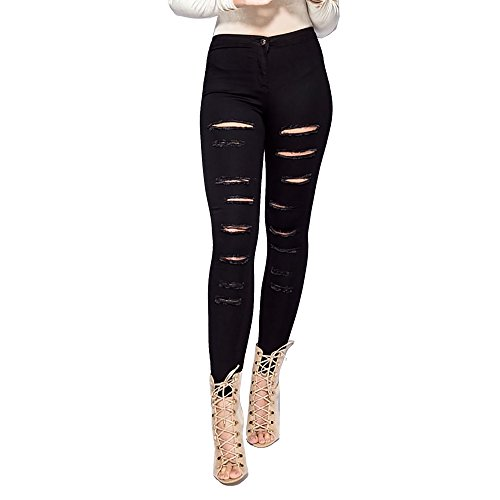 Simply Chic Outlet New Womens Stretch Extreme Ripped Skinny Jeans Denim Multi Slash 2 Pockets