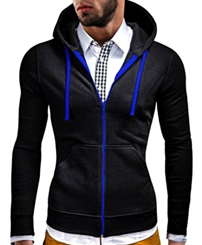 Andopa Men's Drawstring Relaxed-Fit Pure Color Hooded Tracksuit Top Black 2XL ()