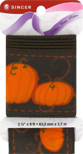 SINGER Wired Edge Fabric Ribbon, 2-1/2-Inch by 9-Feet, Pumpkin Patch Print, Espresso