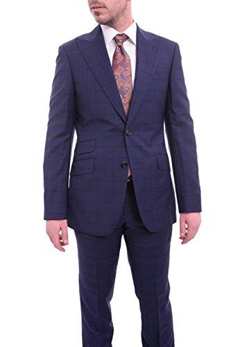 (Napoli Slim Fit Blue Plaid Half Canvassed Super 150's Wool Suit Wide Peak Lapels)