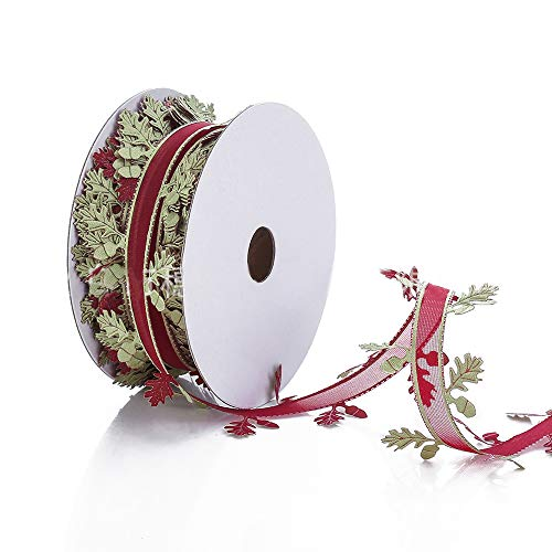 Leaf Grosgrain Ribbon - Christmas Snowflake Leaves Ribbon - 1.57 inches X 22 Yards - Gold Silver Sequins Trim Ribbon (Red Wine)