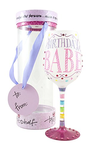 "Top Shelf ""Birthday Babe"" Decorative Frosted Wine Glass ; Fun & Unique Gifts for Women ; Hand Painted Red or White Wine Glass for Friends and Family ; Multicolor"