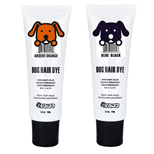 Dog/Pet Hair Dye Gel Bright, Fun Shade, Semi-Permanent and Permanent Dye, Completely Non-Toxic Safe for Dogs, Multiple Colors Available (Black & Orange, -