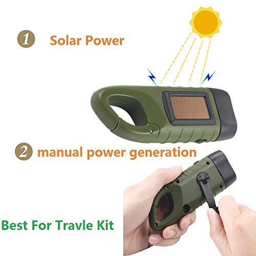 Portable LED Hand Crank Dynamo Solar Power Flashlight Torch for Outdoor Camping Mountaineering Travel Kit Lamp Built in Battery