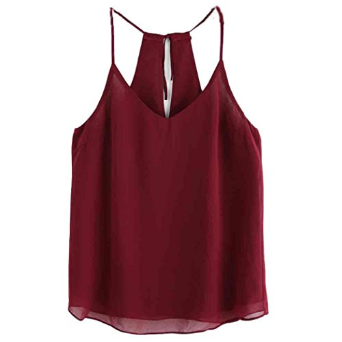 Price comparison product image Kshion Womens Chiffon Summer Sexy Sleeveless Tank Crop Tops Vest Blouse T-Shirt (S, Red)