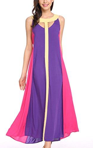 ARANEE Women's Provocative Split Patchwork Long Beach Party Maxi Dress 3 Colors