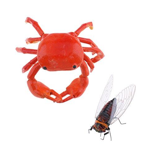 MagiDeal 2Piece Realistic Animal Cicada & Crab Pot Hanger Fridge Magnet Garden Decor