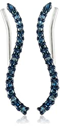 Sterling Silver with Blue Diamond Earrings (1/4cttw, I-J Color, I2-I3 Clarity)