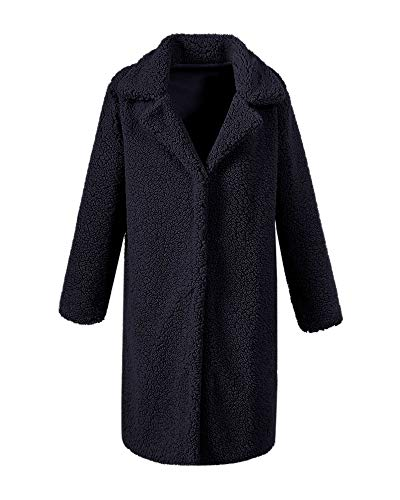 Youngdemo Women's Long Autumn and Winter New Lamb Cashmere Casual Fashion Coat (M, Black)