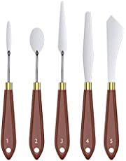 TiMOVO Painting Knives Set [5-Pcs] Stainless Steel Palette Knives Spatula Color Mixing Scraper for Oil, Canvas, Acrylic Art Tools with Wooden Handle & Different Blade Shapes and Sizes