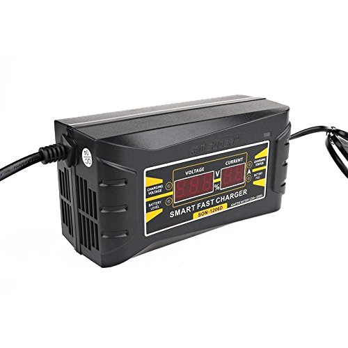 Phoneix 12V 6A Universal Smart Car Motorcycle Three-Phase Charging Battery Charger with LCD Display - US Plug