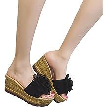 Haoricu Hot Sales Women Shoes, Women SummerSummer Floral High Heels Slippers Waterproof Women Wedge Sandals Platform Shoes