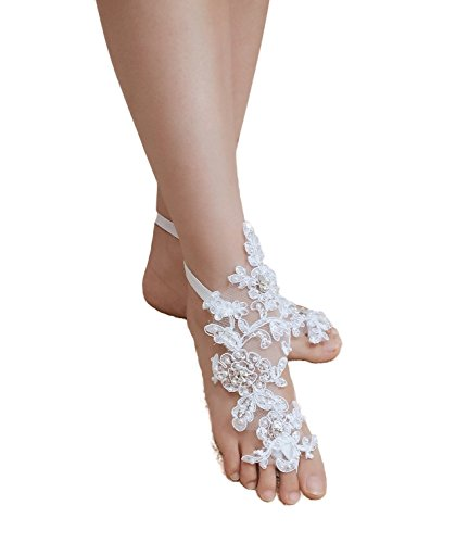ASA Bridal Rhinestone Beaded Bearefoot Sandals Wedding Anklets (White Lace Anklet)