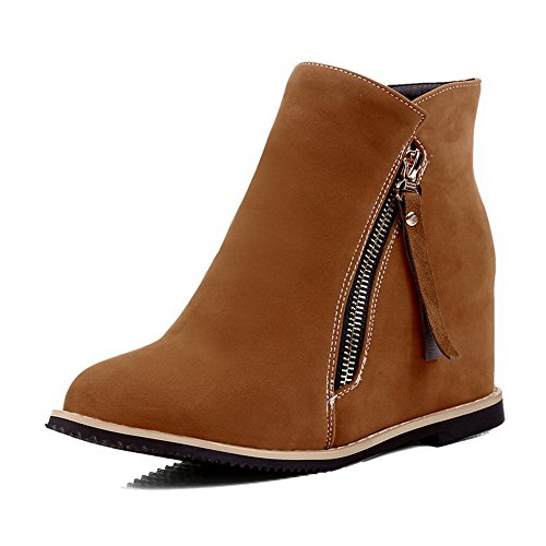 Allhqfashion Mujeres Round Closed Toe Kitten-heels Frost Low-top Botas Sólidas Marrón