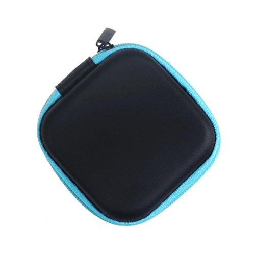 Fulltime® Kunstleder Platz kopfhörer-Tasche Schutztasche Mini Zipper Praktische Tragetasche für In-Ear Kopfhörer Ohrhörer mit SD Card Speicher (Blau)
