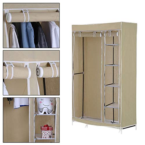 You May 69 Inch Folding Clothing Garment Bedroom Armoires Hanger Closet Storage Rack with Shelves Wardrobe Household