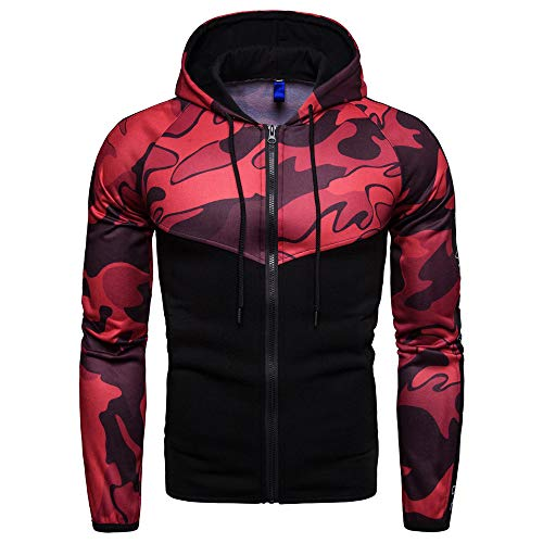 - Sunhusing Mens Camouflage Long Sleeve Splicing Pullover Letter Print Hooded Sweatshirt Tops