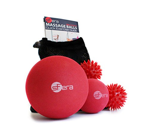 Massage Balls: Deep Tissue, Trigger Point and Myofascial Release: FIRM Therapy Set of 4 Includes Small and Large Firm Foam Roller Balls, 2 Spiky Balls + Printed Exercise Guide + EBOOK