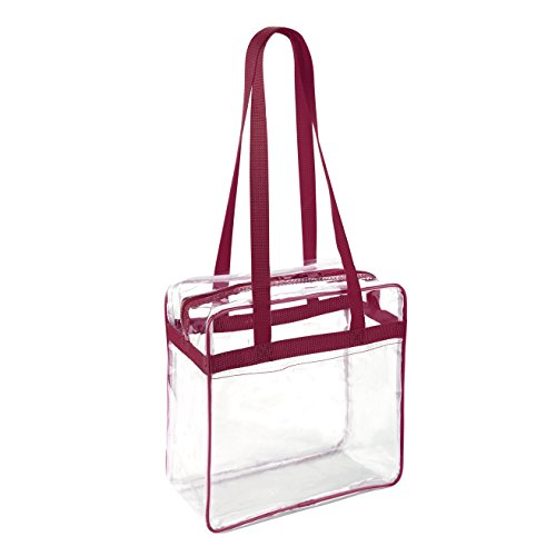 Clear 12 x 12 x 6 NFL Stadium Approved Tote Bag with 35'' Handles and Side Pocket - Dark Red Trim by Clear Handbags & More