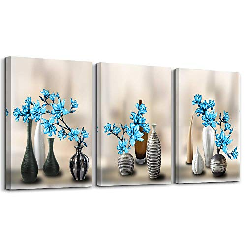 Wall Art for Bedroom Simple Life Black Bottle and Blue Magnolia Flowers Blue Canvas Wall Art Decor 3 Pieces Framed Canvas Prints Watercolor Giclee with Black Border Ready to Hang - Art Framed Border Wall