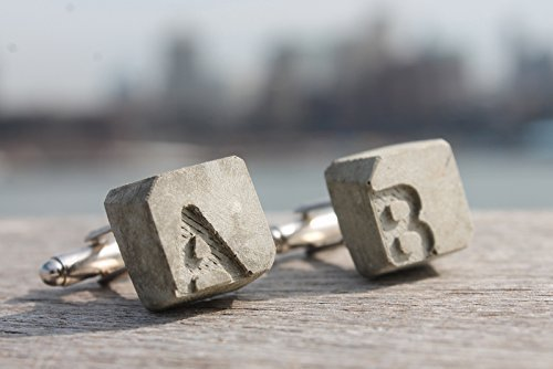 becrete - personalized cufflinks of concrete with initials by concreteIDEE