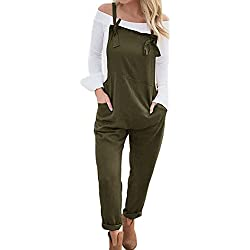 LVCBL Women Summer Retro Overall Sleeveles Playsuit Jumpsuit Wide Leg Trousers Pants Green S