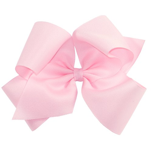 (Wee Ones Baby Girls' King Grosgrain Hair Bow on a WeeStay Clip w/Plain Wrap - Light Pink)