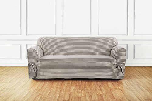 SureFit  Horizontal Club Stripe 1 Cotton 1 Piece Sofa Slipcover, Tan