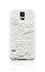 LiViTech(TM) 3D Flower Sculpture Soft case TPU silicone Rubber protective cover for Samsung Galaxy S5 (White)