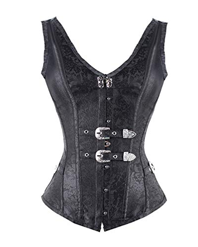 (F style Women's Sexy Black Corsets Steel Boned Retro Goth Steampunk Corset)