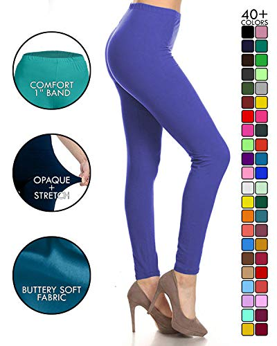 LDR128-RoyalBlue Basic Solid Leggings, One Size ()