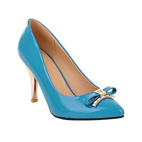 MissSaSa Damen high-heel Pointed Toe Low-cut Lackleder Pumps mit Schleife Blau