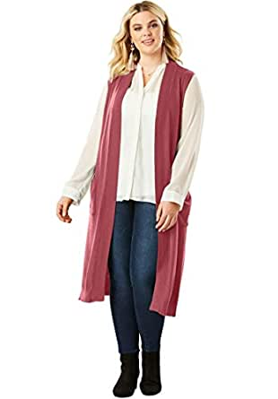 73598c431bb93 Image Unavailable. Image not available for. Color  Roamans Women s Plus  Size Sleeveless Cardigan ...