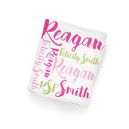 Personalized Baby Name Blanket 11 - Hot Pink Lime Green Swaddling Blanket Photo Prop