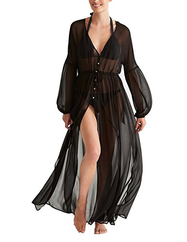 Colorful House Women Chiffon Long Swimsuit Cover Up Maxi Beach Kimono Dresses (One size, Black)