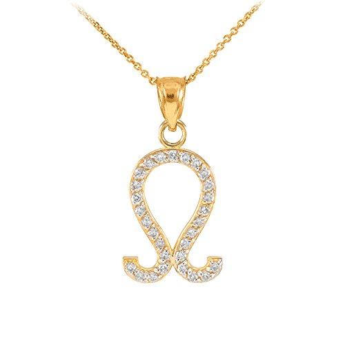 Collier Femme Pendentif 14 Ct Or Jaune Lion Zodiaque Signe Diamant (Livré avec une 45cm Chaîne)