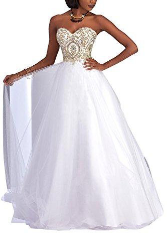 La Tuell Partykleider Festlichkleider mia Langes Brau Tanzenkleider Brautmutterkleider Weiß Abendkleider Spitze Promkleider rw6awZ