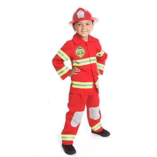 MONIKA FASHION WORLD Firefighter Costume Kids Light up with Hat Fire Man Chief