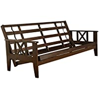 Full Size Montreal Espresso Futon Frame only Hardwood Sofa to Bed Choice to add Drawers (Frame only)