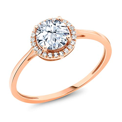 Gem Stone King 10K Rose Gold Round Hearts and Arrows Created Sapphire and Diamond Engagement Ring 1.42 cttw (Size -
