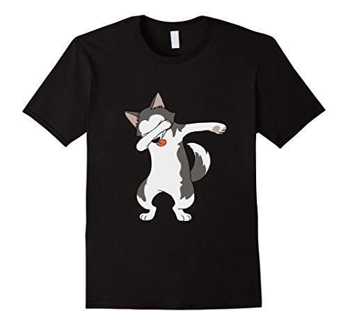 [Men's Dabbing Husky Dacing Puppy Dogs Adopt Rescue Gift Shirt Large Black] (Kid Eskimo Costume)