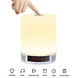 OOLIFENG Bedside Alarm Clock Bluetooth Speakers, Color Gradient, Touch, LED Bedside Lamp