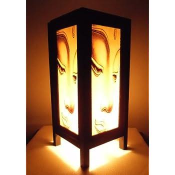 Wonderful Thai Vintage Handmade Asian Oriental Prime Buddha Bedside Table Light Or  Floor Wood Paper Lamp Shades