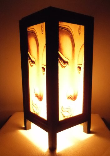 Thai Vintage Handmade Asian Oriental Prime Buddha Bedside Table Light or Floor Wood Paper Lamp Shades Home Bedroom Garden Decor Modern Design from Tha…