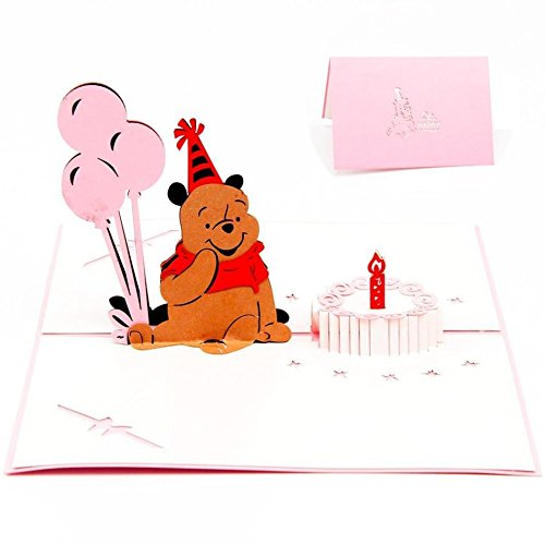 (PopUpCard-32 3D Birthday Pop Up Card and Envelope - Funny Unique Pop Up Greeting Card Gift for Birthday saying Happy Birthday. Pink Winnie the Pooh)