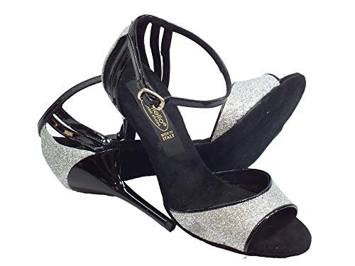 E Cinturino Tango In Da Scarpa Vernice Nero Per Glitter Ballo Cristal Argento Donna TOI88zq