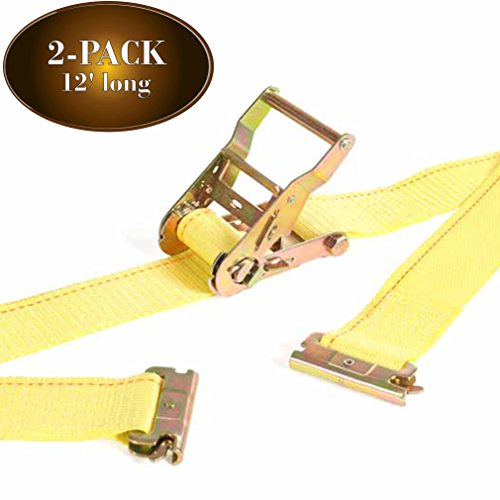 2Pk E Track Ratcheting Straps Cargo TieDowns, 2 x 12 Heavy Duty Yellow Polyester Tie-Down Straps, Strong Ratchet, ETrack Spring Fittings, Tie Down Motorcycle, Trailer Load, by DC Cargo Mall (2) (Cargo Motorcycle Box)