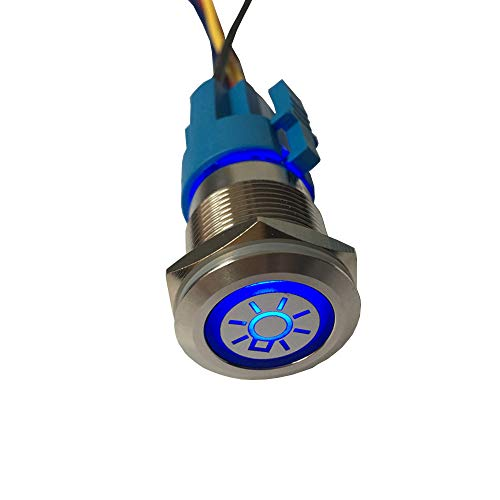 (ESUPPORT 12V Car Vehicle Blue LED Light Headlight Push Button Metal Toggle Switch Socket Plug 19mm)