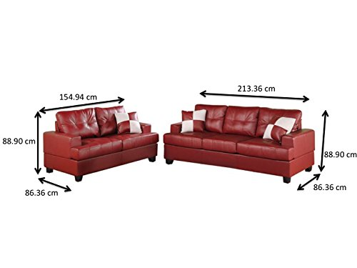 Poundex Bobkona Sherman Bonded Leather 2-Piece Sofa and Loveseat Set, Burgundy
